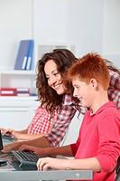 Children in computing class