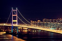 Beautiful night scenes of Tsing Ma Bridge in Hong Kong.