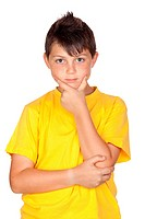 Pensive child with yellow t_shirt