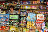 Argentina, Mendoza, Avenida Espejo, convenience store, business, shopping, breath mints, gum, candy, confectionery, brand, competition, product displa...