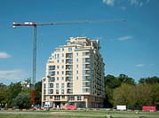 Construction crane and a new building