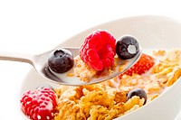 Corn flakes with berries _ Isolated
