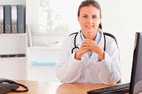 Smiling female doctor posing