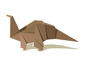 Single origami dinosaur in pastel colors