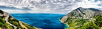 Scenic panorama view of the mountains, clouds and sea in Croati