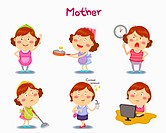 A illustration of mother in different position and emotions