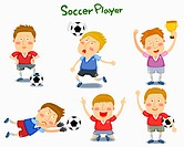 A illustration of soccer player in different position and emotions