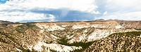 A panorama shot of the Fire Hills outside Albuquerque, New Mexico