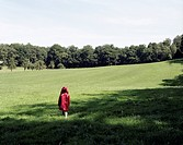 Child walking on a meadow