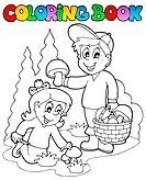 Coloring book with kids mushrooming