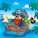 Cartoon pirate paddling in boat