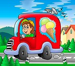 Ice cream man driving red car