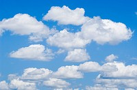 Cumulus clouds in a blue summer sky