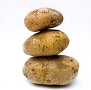 A stack of organic potatoes