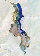 Malawi, satellite image. North is at top. Natural colour satellite image showing Malawi, with the surrounding territories shaded out. Malawi is a land...