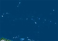 Micronesia. North is at top. Satellite image showing the collection of islands in the western Pacific Ocean blue known as Micronesia. Micronesia is a ...