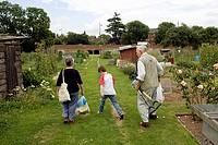 Allotment cultivation. Grandparents with grandson leaving a local authority allotment with produce they have harvested. Photographed in the UK.
