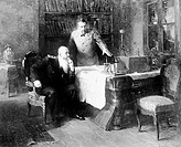 Alexander Popov with Stepan Makarov. Russian radio pioneer and physicist Alexander Stepanovich Popov 1859_1906, right, showing the world´s first radio...