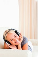 Portrait of a woman enjoying some music