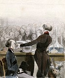 Lafarge murder trial. Historical caricature artwork of Francois_Vincent Raspail and Mateu Orfila during the trial of Marie_Fortunee Lafarge 1816_1852....