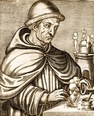 Berthold Schwarz. Historical engraving of the German alchemist and monk Berthold Schwarz experimenting with gunpowder. Schwarz was the first person to...