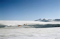 Wrangel Island. People on snowmobiles on Wrangel Island, Arctic Ocean, Russia.