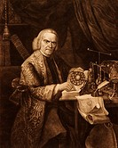 Richard Lovett 1692_1780, British physicist. Lovett is here consulting his book ´Philosophical Essays in Three Parts´ 1766. Lovett also wrote a brief ...