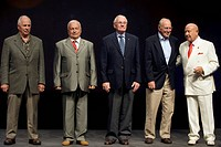 Soviet and US astronauts at the Starmus Festival in June 2011, on La Palma in the Canary Islands. From left, those present are: US astronaut William ´...