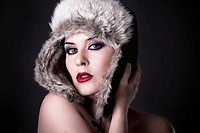 Sensual Beautiful Winter Woman. Perfect young woman with red lips.