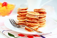 Sweet mini pancakes with pancake maker