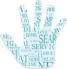 Illustration of the hand symbol, keywords on social media themes