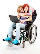 invalid girl with laptop and friend