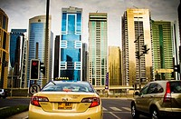 Traffic in Marina area  Dubai city  Dubai  United Arab Emirates