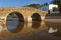 Roman bridge and river Galindon, San Nicolas de Puerto, Seville-province, Spain