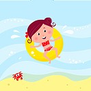 Illustration of cute smiling girl swimming in the sea near beach