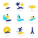 Retro summer, travel and water sports icons _ blue and yellow