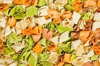 raw colored pasta