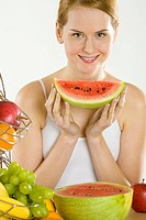 woman during breakfast with fruit