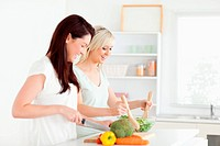 Joyful young Women preparing dinner