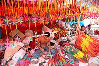 Colourful handmade toys shop on account of Baishakhi fair or the Baishakhi mela which begins on the Bengali New YearÆs Day or the Pahela Baishakh Vera...