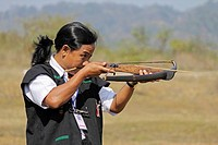 Tribe, man perform Traditional Crossbow Competition at Namdapha Eco Cultural Festival, Miao, Arunachal Pradesh, India