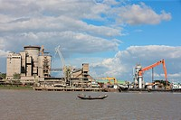 a cement fctory at the bank of river Poshur, Mongla sea port, Khulna, Bangladesh