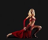 Beauty blond dancer _ red oriental arabia costume