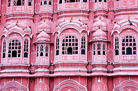 Detail of the windows of the palace of winds in Jaipur Rajasthan India