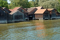 Boat Houses on Ammersee Lake