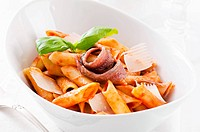 Penne lisce with anchovy and tomato sauce