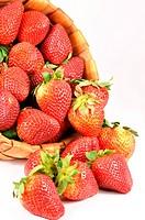 Fresh strawberries full of the basket