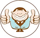 Illustration of businessman showing thumbs up. Retro