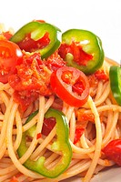 spicy italian pasta tomato and chili peppers sauce