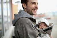 Father and infant son out for a walk (thumbnail)